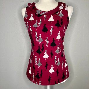 Banana Republic Sleeveless Novelty Print Blouse